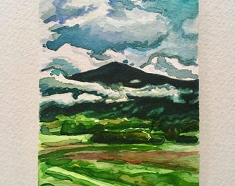 Miniature Watercolor Painting of the Smoky Mountains and Clouds in Tennessee