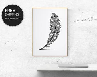Art Print Plume Black Modern Contemporary Interior Design Wall Decor by Blacklinebar