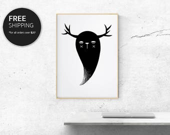 Forest Ghost  Print Art Black Modern Contemporary Interior Design Wall Decor by Blacklinebar