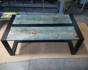 hand made metal and wood coffee table