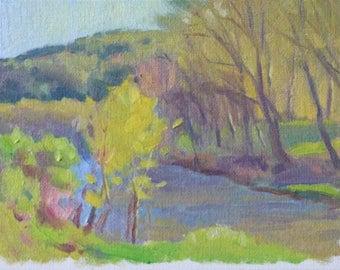 6x8 Spring Landscape Original Oil Painting Sunlit Trees River Art Midday Beautiful Landscape Budding Spring Landscape Painting Impressionist