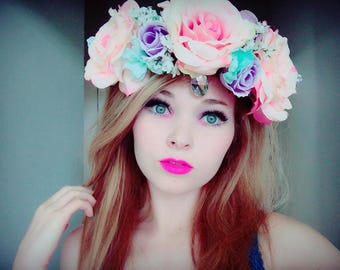 Pastel Flower crown, hair accessory