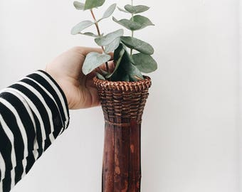 Woven wood hanging vase/planter