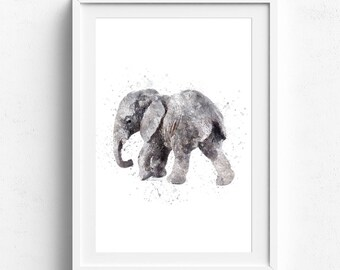 Elephant nursery print, elephant art print, elephant painting, nursery wall art, watercolor elephant, baby elephant, elephant wall decor