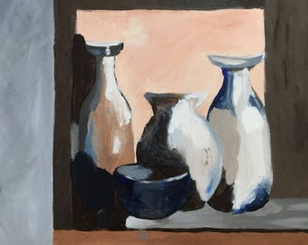 Modern Still Life painting, acrylic, canvas
