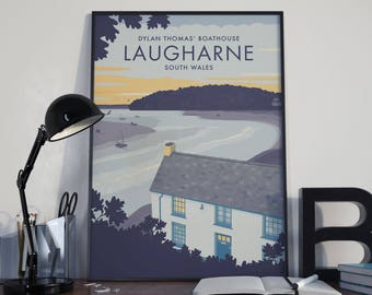 Medium (32cm x 45cm) Vintage Style Travel Poster Prints - Dylan Thomas' Boathouse in Laugharne