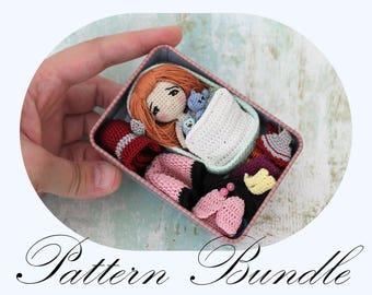Amigurumi Doll, Doll Crochet Pattern, Amigurumi Pattern, Miniature Doll, Doll in Tin Box, PDF Tutorial (English Only) PATTERN BUNDLE