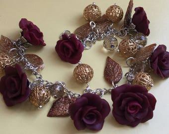 Burgundy flower bracelet, burgundy rose bracelet, women's bracelet, link bracelet, leaf bracelet, chain & link bracelet, free shipping