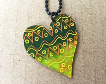 Shrink plastic heart necklace