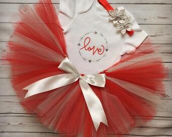 Red and Gray Tutu, Valentine Tutu, Love Tutu, Mother's day tutu, Cute Tutu