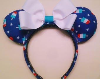 Rocket Pop Minnie Ears, 4th of July Minnie Ears, Custom Minnie Ears