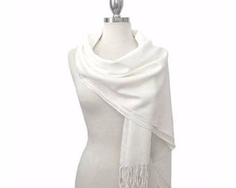 White pashmina,White scarf, Pashmina shawl, Pashmina scarf ,Bridesmaid gifts, Wedding favor, Pashmina, clothes, scarf, gifts, women clothes
