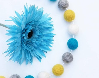 Yellow and Turquoise Felt Ball Garland. Yellow and Blue Pom Pom Garland. Nursery Bunting. Blue and Yellow Nursery Decor. Photo Prop Flatlays
