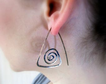 Spiral Triangular Copper earrings Wire wrapped earrings Open hoop Boho earrings Wire wrap jewelry Copper jewelry Gift for her Birthday gift