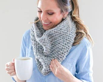 Chunky Knit, Infinity Cowl Scarf *The Savannah* in Greystone