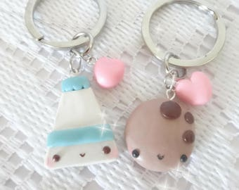 Kawaii Milk And Cookie Friendship Keychains, Milk And Cookie Clay Charm, Friendship Charms, Friendship Necklaces, Food Jewelry, BFF Jewelry