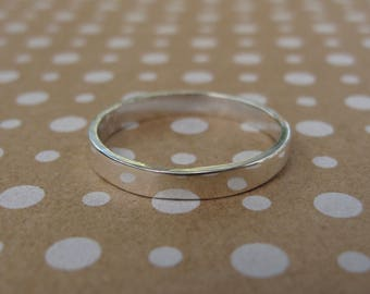 Simple recycled sterling silver ring, 3 mm wide