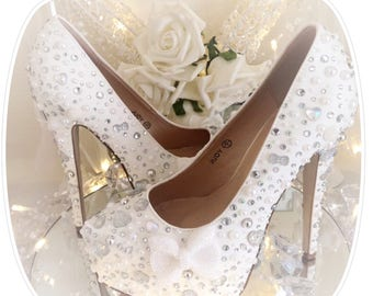 Crystal Wedding Shoes, Prom, Special Occasion, Beautiful White Heels