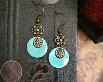 Antiqued Brass and Enamel Drop Earrings