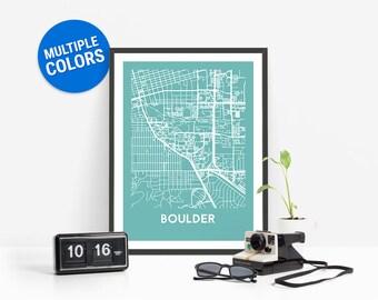 Boulder Full Color Map Print   Boulder United States Map   Boulder Colorado USA Art