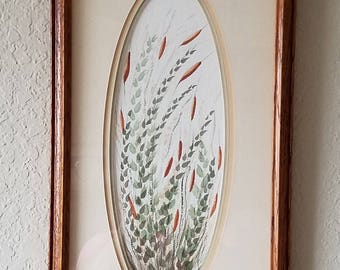 Framed Original Watercolor Painting of Cattails