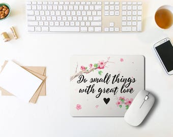 Floral Mouse Pad / Floral Mouse Pad / Quote Mousepad / Office Decor / Mouse Pad Quote / Office Desk / Rectangle Mouse Pad / Coworker Gift