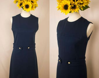 Vintage 60s Navy Blue Wool A-Line Sleeveless Dress
