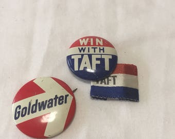 Win with Taft, Ribbon, Goldwater pin combo