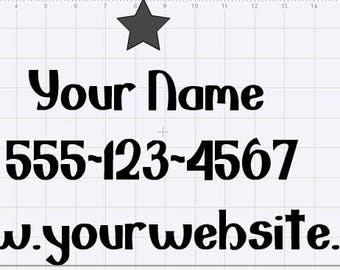 """Personalized Website Decal 18"""" by 9"""""""