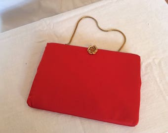 Vintage red satin handbag with gold chain handle