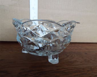 Edwardian Cut Glass Sugar bowl and Spoon