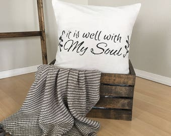 "It Is Well,  Canvas Drop Cloth, 18""x18"",  PILLOW COVER, Christian, Throw Pillow, Natural Pillow, Cushion Cover, Modern Farmhouse"