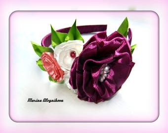 Bow Headband with flowers and leaves