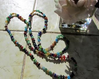 Multicolour matt Glass Beads from 1970's