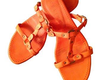 Sandals orange leather mules Céline P It 36 - 37 en in very good condition