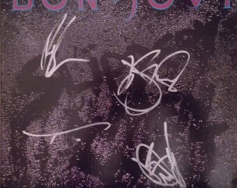 "Bon Jovi signed ""Slippery When Wet"" LP / Vinyl + Signed photo, COA. Local free Postage"