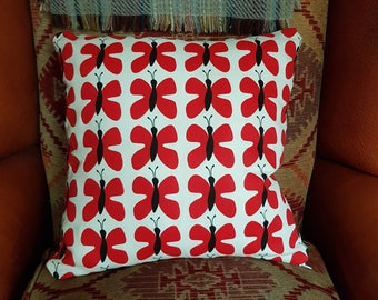 Red Butterfly Print Cushion Cover
