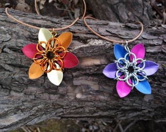 AA Chainmaille flower pendants