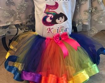 Dora tutu set, Dora the explorer birthday outfit, Dora birthday tutu set, Dora birthday shirt, rainbow tutu set, Dora dress, Dora