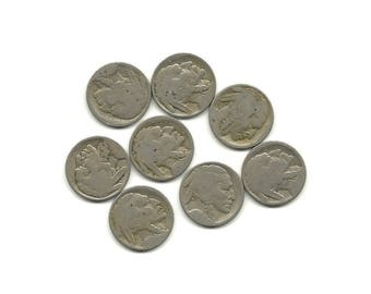 lot of 8 no date bufflo nickels great craft