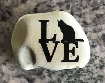 "Natural, Handmade Printed ""Cat Love"" Stone. Unique Stone Art Gift."