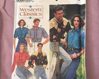 Vintage western shirt sewing pattern