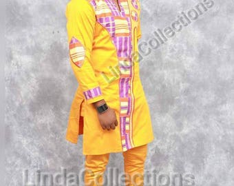 African Clothing, Men Top and Down, African fabric, African material