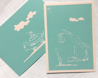 Post card set - turtle & Raffis