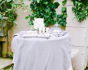 Gauze Table Runner | Gauze Runner | Gray Overlay | Grey wedding tablecloth | wedding linens | silk ribbon | gauze runners | cotton runner