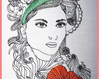 Embroidery file Victoria, in three sizes, machine embroidery, embroidery designs, embroidery motif