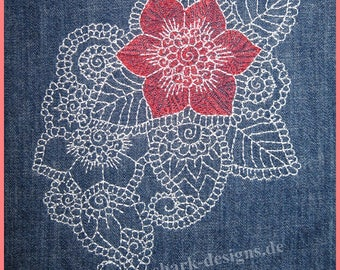 Embroidery file Zen floral lace embroidery motif in two sizes, machine embroidery, embroidery,