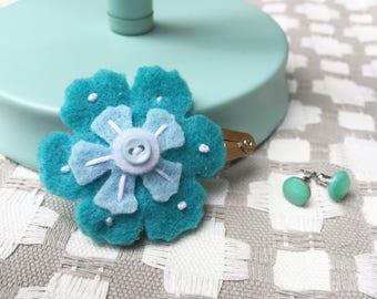 Flower Hair Clip- Turquoise