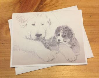 Great Pyrenees and Bernese Mountain Dog Puppy Blank Note Card