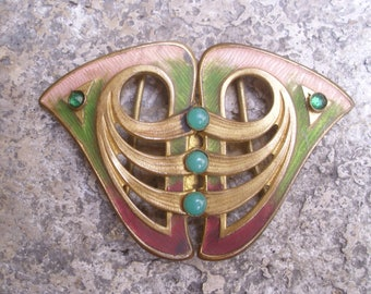Antique French Art Nouveau Enameled  Belt Buckle.1900/ 1910.Haberdashery.Clothing. Fashion.